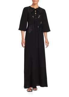 BCBG Max Azria Sequined Lace-Up Front Gown