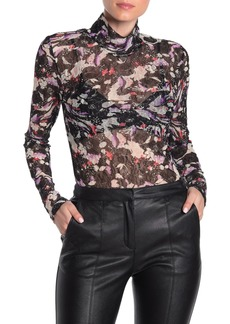 BCBG Max Azria Sheer Floral Lace Turtleneck Top