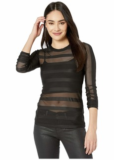 BCBG Max Azria Sheer Stripe Knit Top