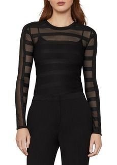 BCBG Max Azria Sheer Stripe Top