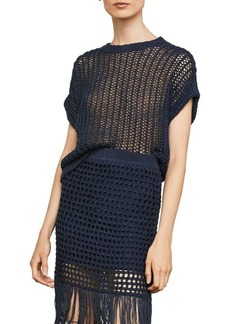 BCBG Max Azria Short-Sleeve Open-Stitch Sweater