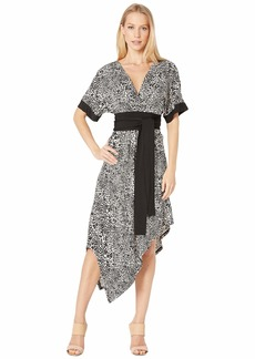 BCBG Max Azria Short Sleeve Printed Matte Jersey Wrap Dress