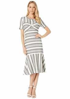 BCBG Max Azria Short Sleeve Stripe Midi Dress