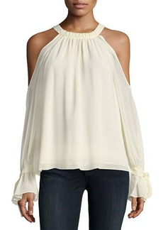 BCBG Max Azria Silk Cold-Shoulder Halter Blouse