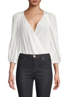 BCBG Max Azria Silk Crossover Bodysuit