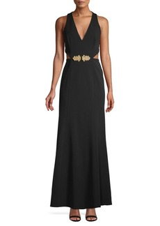 BCBG Max Azria Sleeveless Cut-Out Gown