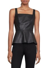 BCBG Max Azria Sleeveless Faux Leather Peplum Top