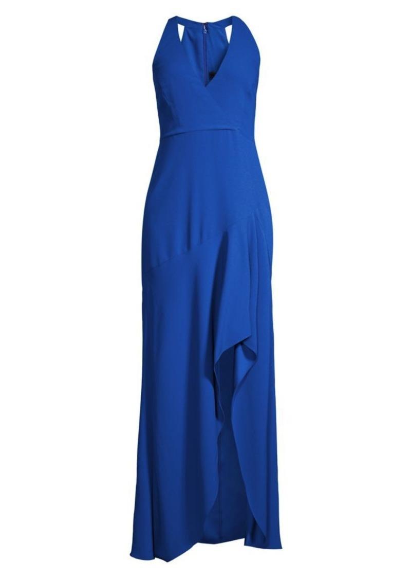 BCBG Max Azria Sleeveless Halter Ruffle Gown
