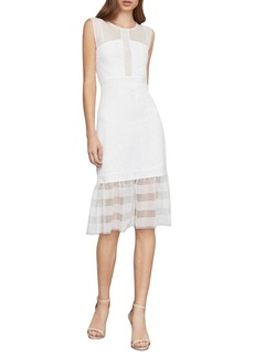 BCBG Max Azria Sleeveless Lace Inset Sheath Dress