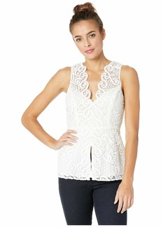 BCBG Max Azria Sleeveless Lace Peplum Top