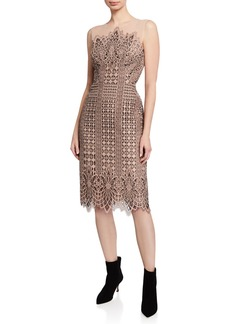 BCBG Max Azria Sleeveless Lace Sheath Scallop Dress