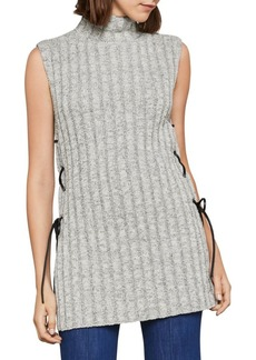 BCBG Max Azria Sleeveless Striped Lace-Up Tunic Sweater