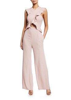 BCBG Max Azria Sleeveless Wide-Leg Jumpsuit w/ Ruffle Trim