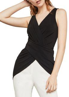 BCBG Max Azria Sleeveless Wrap-Front Tunic Top