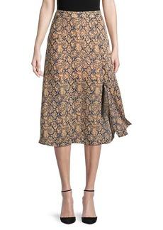 BCBG Max Azria Snakeskin-Print A-Line Skirt