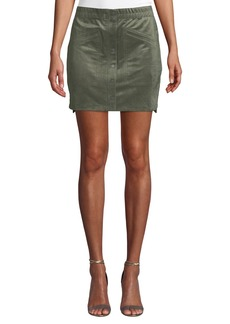 BCBG Max Azria Snap-Button Faux-Suede Mini Skirt