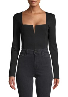 BCBG Max Azria Split Neck Long-Sleeve Bodysuit