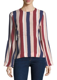 BCBG Max Azria Sportswear Striped Long-Sleeve Woven Top