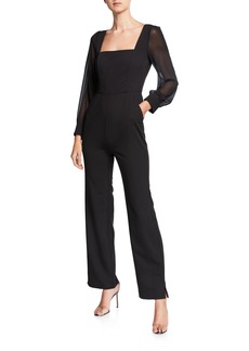 BCBG Max Azria Square Neck Sheer Sleeves Jumpsuit