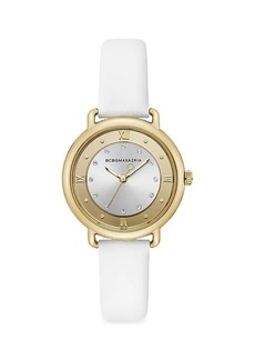 BCBG Max Azria Stainless Steel, Crystal & Leather Strap Watch
