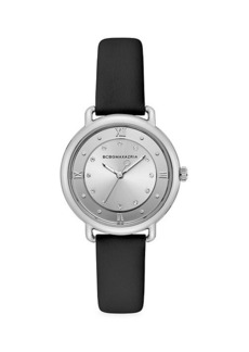 BCBG Max Azria Stainless Steel, Crystal & Leather-Strap Watch