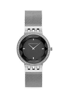BCBG Max Azria Stainless Steel, Crystal & Mesh Bracelet Watch