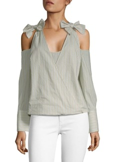 BCBG Max Azria Stripe Cold-Shoulder Cotton Top