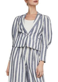 BCBG Max Azria Stripe Cotton & Linen Blazer