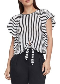 BCBG Max Azria Stripe Cotton Blend Cropped Top