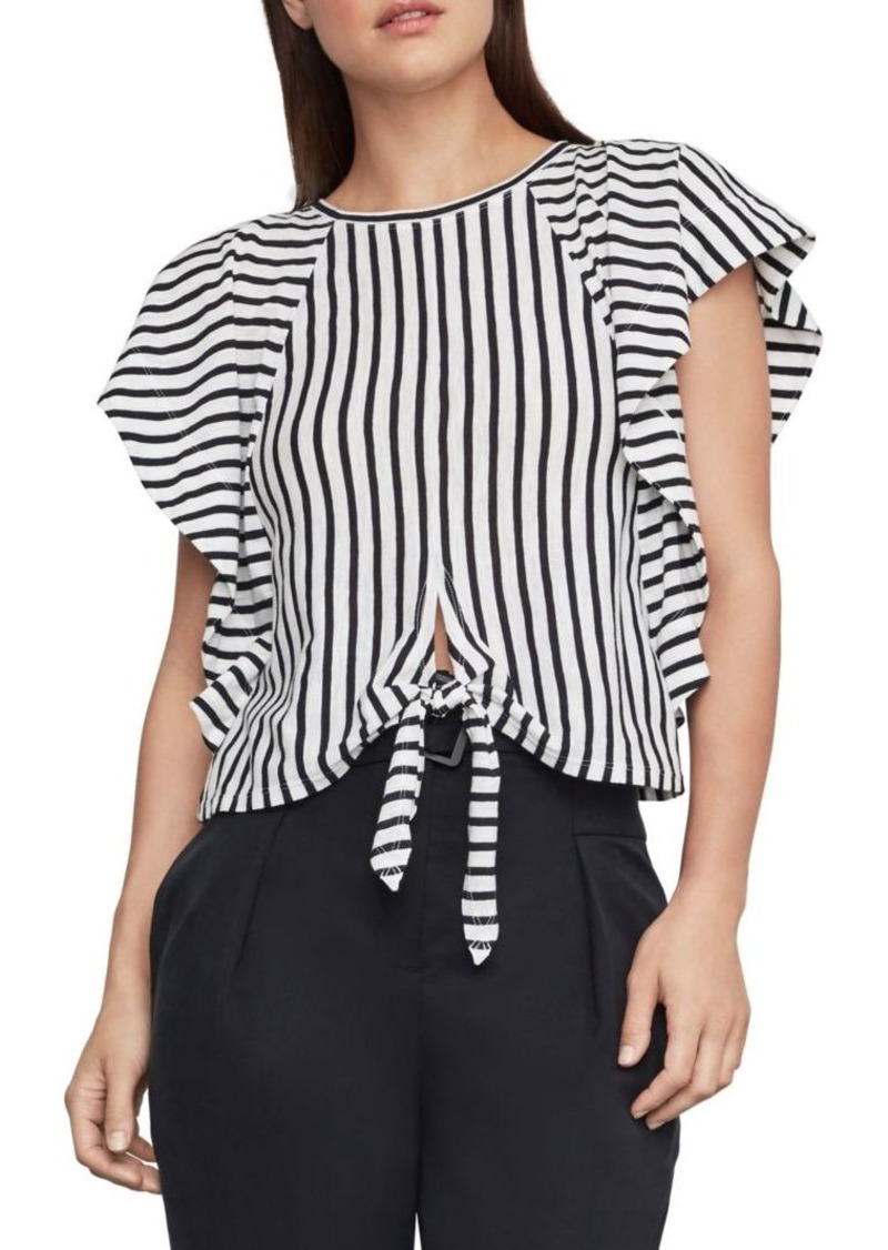 BCBG Max Azria Stripe Cotton Blend Cropped Top