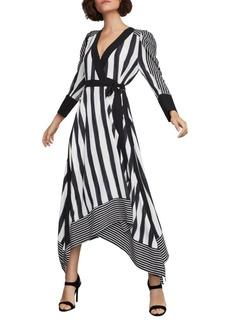 BCBG Max Azria Stripe Faux Wrap Dress