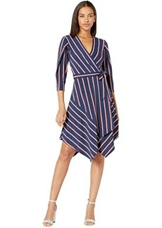 BCBG Max Azria Stripe Matte Jersey Wrap Dress
