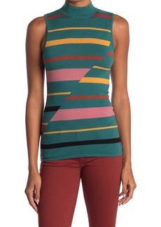 BCBG Max Azria Stripe Mock Neck Sleeveless Sweater