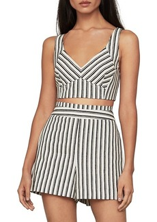 BCBG Max Azria Stripe V-Neck Sleeveless Crop Top