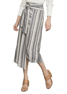 BCBG Max Azria Striped Asymmetrical Cotton Blend Midi Skirt