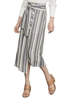 BCBG Max Azria Striped Asymmetrical Cotton Blend Midi Skirt