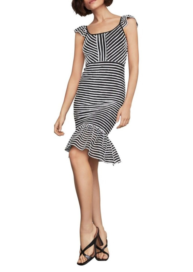 BCBG Max Azria Striped Bodycon Flounced Dress