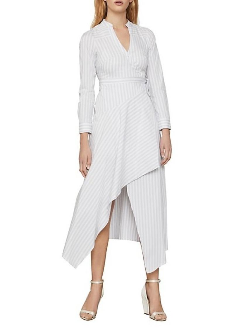 BCBG Max Azria Striped Cotton-Blend Wrap Dress