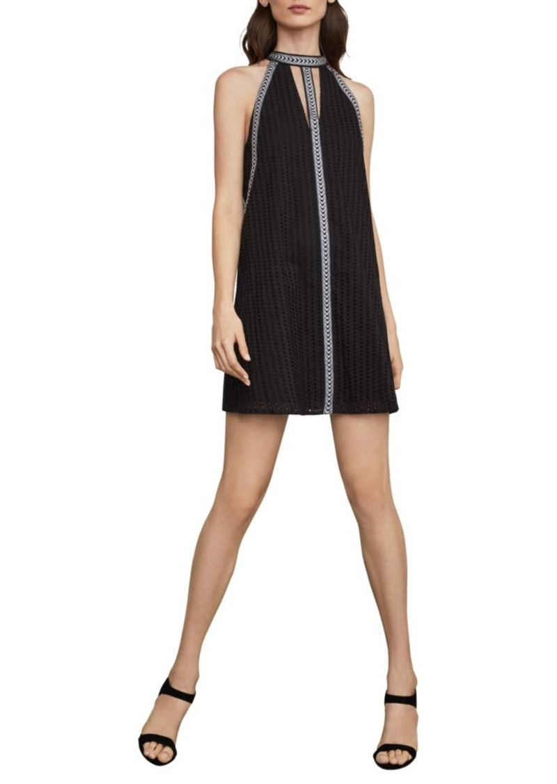 BCBG Max Azria Striped Eyelet Halter Dress