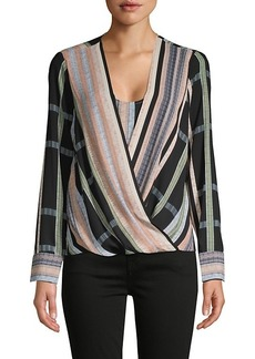BCBG Max Azria Striped Faux ​Wrap Blouse