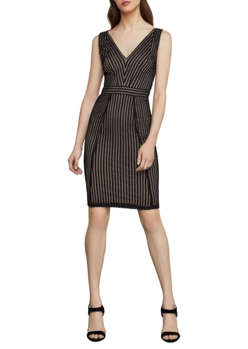 BCBG Max Azria Striped Lace Sheath Dress