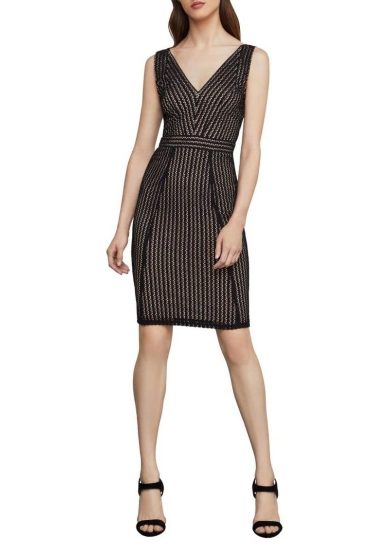 BCBG Max Azria Striped Lace Sheath Dress