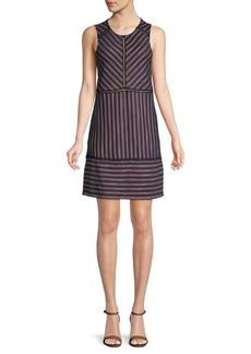 BCBG Max Azria Striped Lace Shift Dress