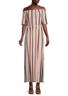 BCBG Max Azria Striped Off-The-Shoulder Maxi Dress