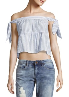 BCBG Max Azria Striped Off-The-Shoulder Tiered Top