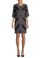 BCBG Max Azria Striped Three-Quarter Sleeve Shift Dress