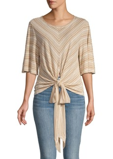 BCBG Max Azria Striped Tie-Front Top