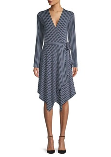 BCBG Max Azria Striped Wrap Dress