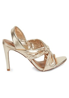 BCBG Max Azria Tailia Knotted Metallic Leather Slingback Sandals