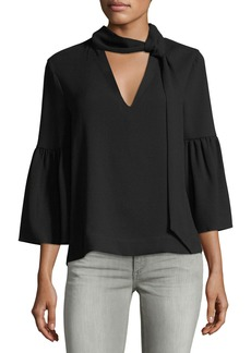 BCBG Max Azria Tie-Neck Bell-Sleeve Blouse